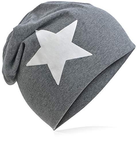 Berretto lungo in jersey, da bambino, unisex, con cotone, motivo con stella Grande stella di colore antracite. 48-53 cm Circonferenza Della Testa