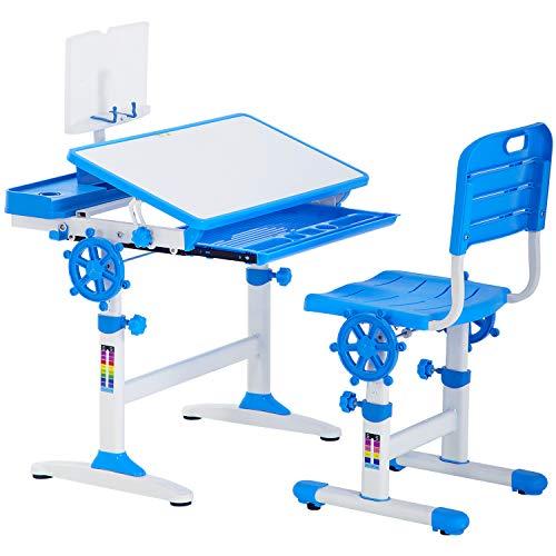 FDW Kids Desk Student Desk Ergonomic Height Adjustable Study Desk with Pencil Case,Bookstand,Blue