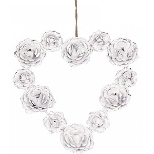 Chic Antique–Corona alle rose a forma di cuore bianco antico