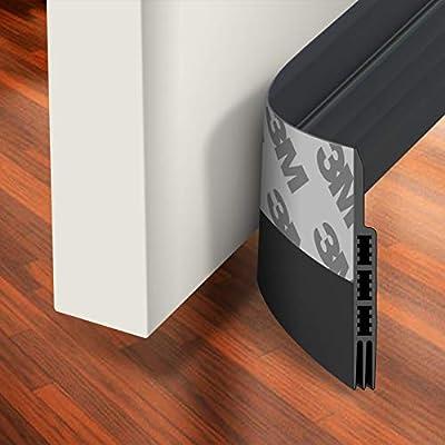 "Holikme Door Draft Stopper Under Door Draft Blocker Insulator Door Sweep Weather Stripping Noise Stopper Strong Adhesive 39"" Length Transparent"