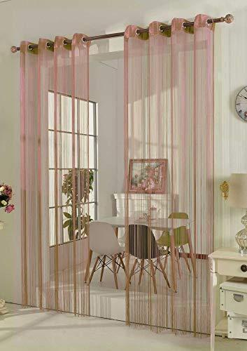 Gardinenbox Fadengardine Fadenstore Vorhang mit Ösen Raumteiler 140 x 250 cm, Rosa, 20304