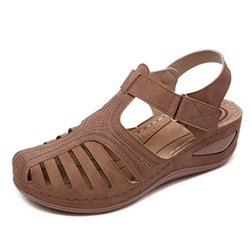 SHIBEVER Hollow Closed Toe Sandals for Women, Soft Leather Vintage Summer Casual Non-Slip Beach Platform Shoes Sandals Brown 10
