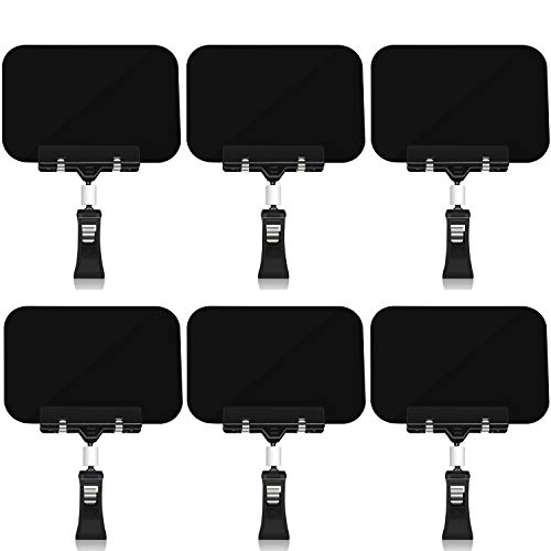 6 Pcs Mini Plastic Chalkboard Sign with Clips, Rectangle Double Sided Blackboard Clip, Message Board Food Labels for Party Farm Restaurant - Easy to Write and Wipe Out - for Liquid Chalk Markers