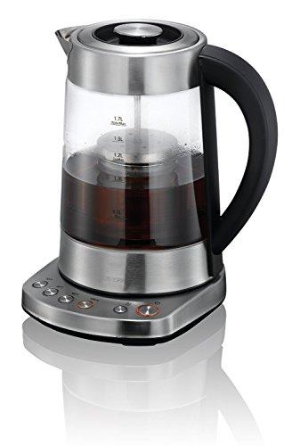 KHAPP 2 IN 1 Teekocher und Wasserkocher elektrisch in Silber,1,7 Liter, Teekocher mit Temperatureinstellung 2200 Watt, Tea Maker