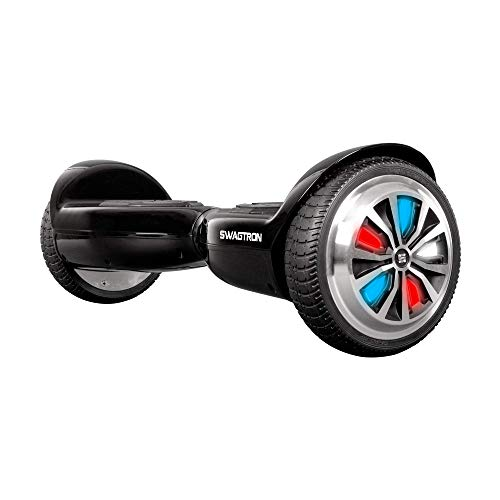 Swagtron Swagboard Hoverboard for Kids and Young Adults; Optional Learning Mode; Patented Battery Protection (Black with LEDs)