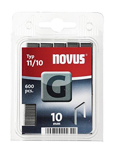 Novus Flachdrahtklammern 10 mm, für Hammertacker, 600 Heft-Klammern vom Typ G 11/10, aus verzinktem Stahldraht