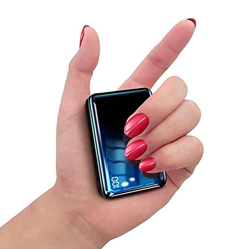 Bscame Powerbank 10000 mAh, USB C pequeña y ligera, batería externa mini, extra compacta, 2 salidas USB y pantalla LCD, compatible con iPhone, Samsung, Huawei, iPad y más (negro)