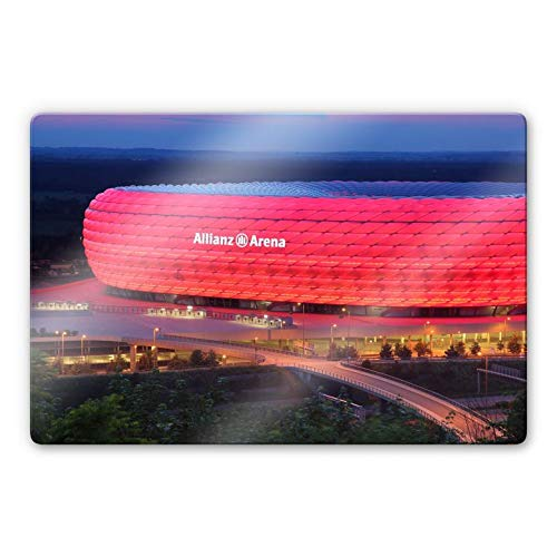 Glasbild FC Bayern Allianz Arena Wandbild München Bundesliga Fußball Sportverein Spiele Mannschaft mit Wandhalterung Wall-Art - 100x70 cm