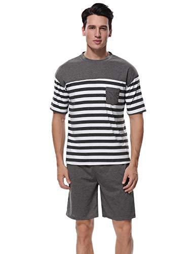 Abollria Pijamas Hombre Verano de Algodón Ropa de Dormir a Raya de Dos Piezas con Manga Corta para Hombre Rayas Grises y Blancas,S