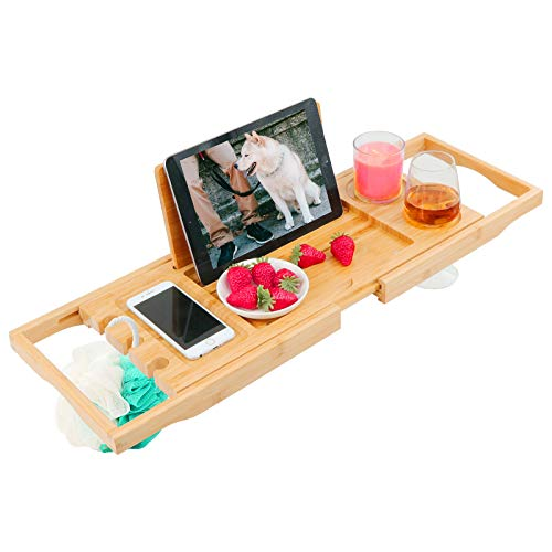 of bath caddies Diosbles Bathtub Caddy Tray Expandable Bamboo Bath Tub Tray Caddy Extendable Bathtub Holders Organizers with Book Ipad Holder and Phone Candle Wineglass Slots