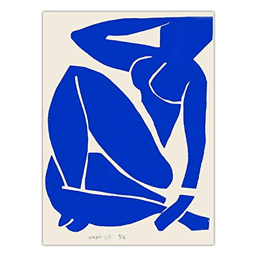 Famous French painter Henri Matisse abstract blue character artwork print print family frameless canvas painting C 30x45cm