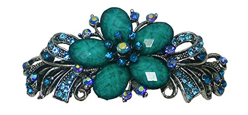 Bella Large Barrette with Beads and Crystals Hair Clip for Women U86012-0052aqua