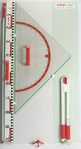 WISSNER aktiv Lernen-Tafel Zeichengeräte Satz mit großem Geometrie Winkel-RE-Plastic, Mehrfarbig, 102 x 55 x 4