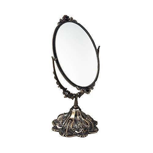 Feyarl Espejo de maquillaje vintage de 28,4 cm con soporte para vestidor giratorio de doble cara, elegante marco decorativo en relieve (bronce)