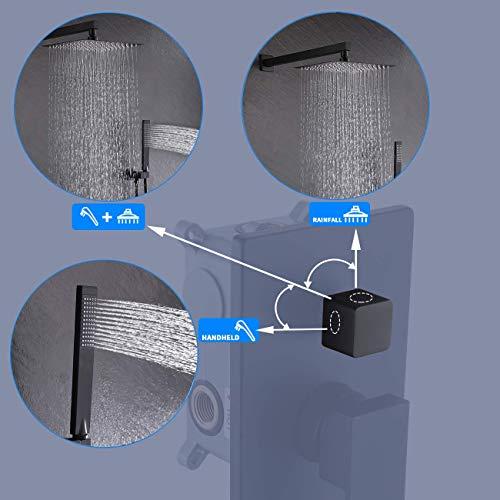 KES Shower Faucets Sets Complete Matte Black Shower System 10 Inches Rain Shower Head with Handheld Shower Valve and Trim Kit Pressure Balance, XB6230-BK