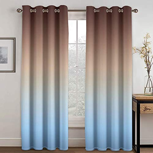 Beydodo Cortina Comedor Poliéster Cortinas Termicas 2 Piezas Gradiente Simple Marrón Azul Cortina Dormitorio 274x274CM