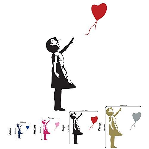 Banksy - Adhesivo Decorativo para Pared, diseño de corazón con Texto Girl Balloon, Negro, Medium