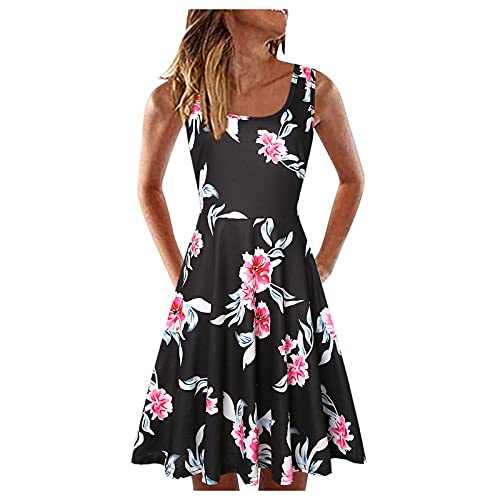 ZGNB Damen Blumen Sommerkleid Mini Kleid Dress U-Ausschnitt Summer Dress for Girls 140 Leichte Sommerkleider Damen Boho Kleid Weiß Summer Dress for Women Long Sleeves Schwarz#18 XXL