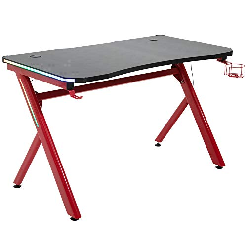 HOMCOM Gaming Desk Computer Table Metal Frame with LED Light, Cup Holder, Headphone Hook, Cable Hole, Red