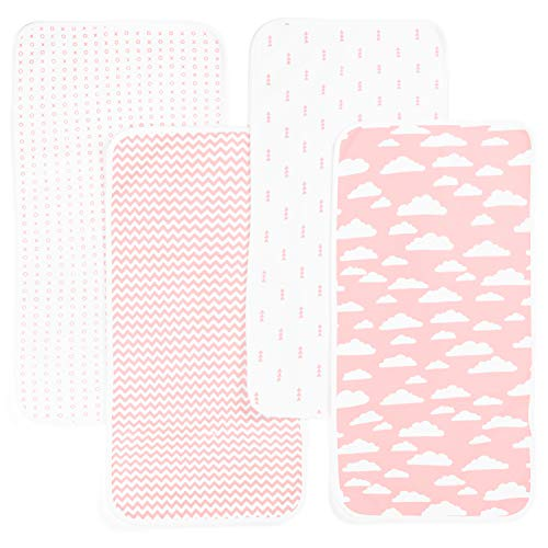 Changing Pad Liner 4 Pack – Waterproof Changing Pad Cover – Wipeable Changing Pad Cover – 100% Cotton Changing Table Pad Cover –Reusable Baby Changing Pad Covers by BaeBae Goods