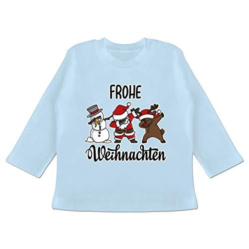 Weihnachten Baby - Frohe Weihnachten mit Dabbing Figuren - weiß - 3/6 Monate - Babyblau - Statement - BZ11 - Baby T-Shirt Langarm