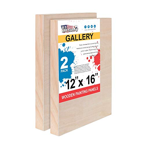 "U.S. Art Supply 12"" x 16"" Birch Wood Paint Pouring Panel Boards, Gallery 1-1/2"" Deep Cradle (Pack of 2) - Artist Depth Wooden Wall Canvases - Painting Mixed-Media Craft, Acrylic, Oil, Encaustic"