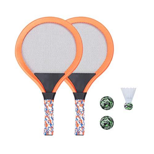 LIOOBO Raquetas de Tenis para Niños Raqueta de Tenis Juego de Playa Juego de Bádminton para Niños con 2 Raquetas (Naranja)