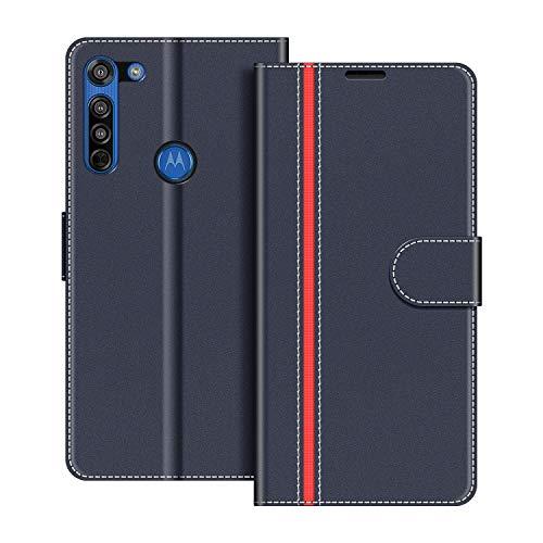 COODIO Handyhülle für Motorola Moto G8 Handy Hülle, Motorola Moto G8 Hülle Leder Handytasche für Motorola Moto G8 Klapphülle Tasche, Dunkel Blau/Rot