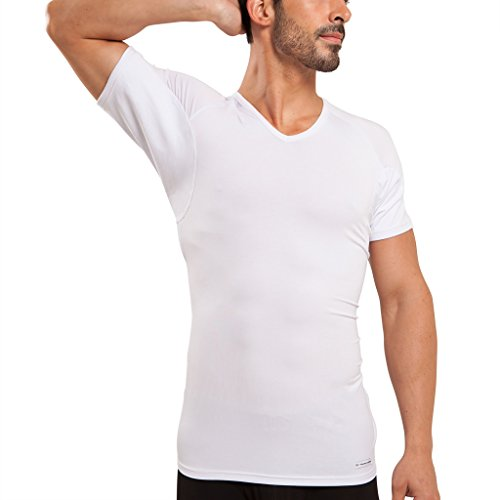 Ejis Men's Sweat Proof Undershirt, V Neck, Anti-Odor Silver, Micro Modal, Sweat Pads (XX-Large, White)