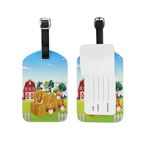 Eslifey Hens Poultry Rural Farm PU Leather Suitcase Labels Tag Luggage Tags Privacy Cover for Travel Bag