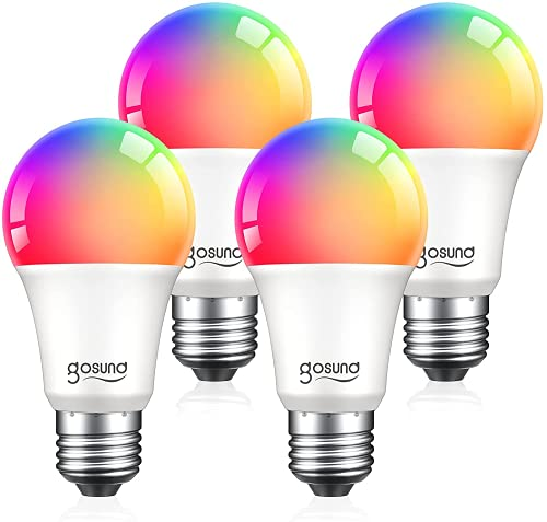 Smart Light Bulbs, Color Changing Dimmable LED WiFi Bulbs Work with Alexa and Google Home, RGB Multicolor and Warm White A19 E26 75W Equivalent Bulbs, 2.4GHz WiFi Only, No Hub Required, 4 Pack