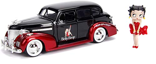 Jada Toys Hollywood Rides 1:24 Scale Betty Boop & 1939 Chevy Master Deluxe Race Car Car Play Vehicles