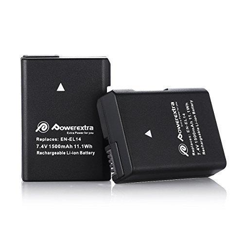 Powerextra 2 x Replacement EN-EL14, EN-EL14a Battery Compatible with Nikon D3100, D3200, D3300, D3400, D3500, D5100, D5200, D5300, D5500, D5600, DF, Coolpix P7000, P7100, P7700, P7800 DSLR Cameras