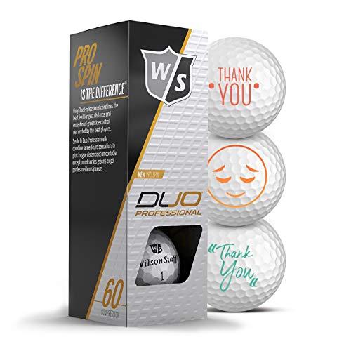Wilson Staff Golfbälle 3er Pack Danke/Thank You Motiv Golf Geschenke Dankeschön für Golfer Geschenkidee (Duo Professional)
