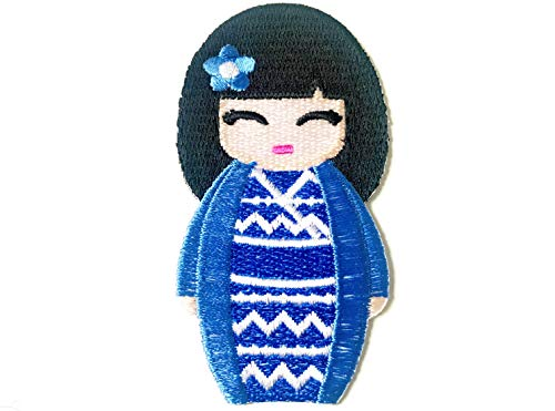 Blue Color Japanese Kokeshi Doll Japan Vintage Cute Girl Jacket T-Shirt Sew Iron on Embroidered Applique Badge Sign Patch