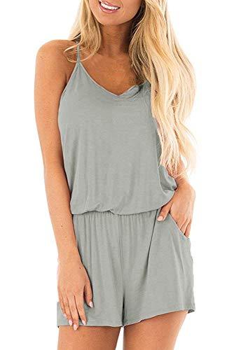 Bluetime Womens Summer Beach Romper Sleeveless Spaghetti Strap Short Jumpsuit Rompers (M, Gray)