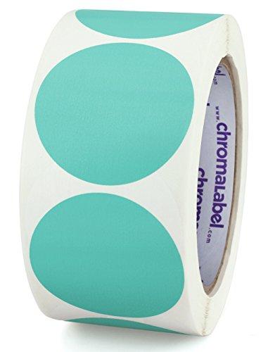 ChromaLabel 2 Inch Round Permanent Color-Code Dot Stickers, 500 per Roll, Aqua