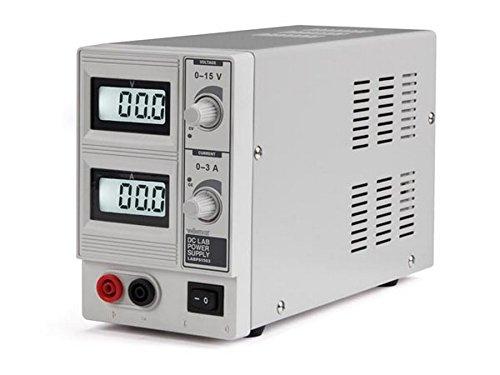 Velleman LABPS1503 DC - Fuente de alimentación para laboratorio (0-15 VDC, 0-3 A, máximo con 2 pantallas LCD), color blanco y gris