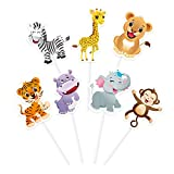 WERNNSAI Jungle Zoo Animals Cupcake Toppers Picks - 28 PCS Safari Theme Party Cake Decorations for Kids Birthday Baby Shower Party Supplies