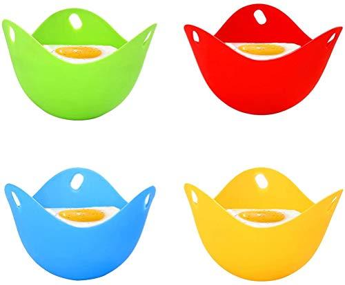 KRY 4pcs Egg Poacher, Mini Silicone Egg Poaching Cups Egg Cooker, for Microwave, Egg Poacher Pan, Egg Cookware, Stovetop, BPA Free, Dishwasher Safe