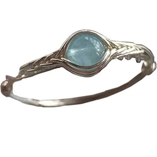 16 1/2 (9-26 1/2 opzione) Pietra naturale di acquamarina Corda d'argento 925 Sterling in giro pietra preziosa Anello fatto a mano
