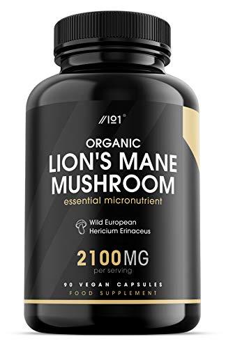 Organic Lion's Mane Mushroom Capsules - 2100mg - Wild European Hericium Erinaceus, 90 Vegan Capsules - No Additives — Non-GMO, Gluten Free.