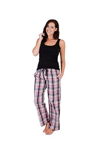 Tom Franks Damen Frauen Karierte Pyjama Hose Schlafanzug (42) Rosa
