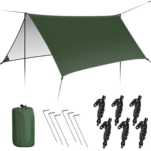 GEEDIAR Multifunctional waterproof Fly Tent Tarp 300cm x 300cm, Anti-UV Lightweight Camping Shelter Outdoor Footprint Rainfly Hammock Fly - Tent Stakes and Ropes Included