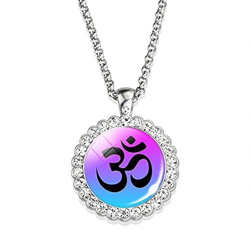 Collar De Yoga Con Símbolo De Hinduismo, Collar Con Colgante De Diamantes De Imitación, Joyería India, Collar Con Signo De Reiki De Meditación 3