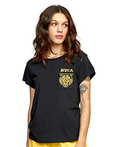RVCA Damen T-Shirt, kurzärmelig, mit rotem Stich, Grafikdesign, Heritage / Black, Klein
