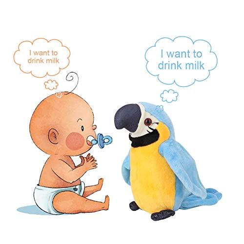 Hztyyier Juguete Loro Loro Parlante con Dibujos Animados Lindo grabación Juguete Educativo de Felpa eléctrica de educación temprana para el bebé Repite lo Que Dices(Azul)
