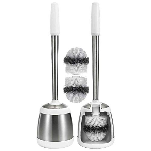 Polder Stainless Steel Toilet Brush Caddy - White 2 Pack + 2 Replacement Brush Heads