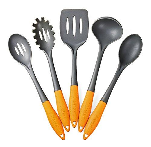 Deiss PRO - Juego de utensilios de cocina (5 piezas, nailon, cucharón de sopa, espátula ranurada, cuchara para servir, cuchara ranurada, seguro para utensilios de cocina antiadherentes)