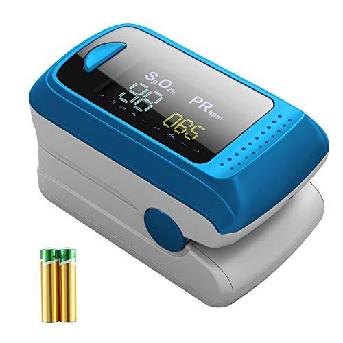 Monitor de saturación de oxígeno,pulsioxímetro de frecuencia cardíaca,monitor de oxígeno en sangre de dedo Sp02,Oxímetro portátil de alta precisión para niños adultos,pilas incluidas
